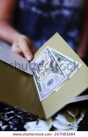 To pay the bill at the restaurant - stock photo