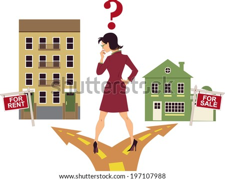 To rent or buy. Man with a money bag standing on a fork in the road contemplating about renting or buying property  - stock photo