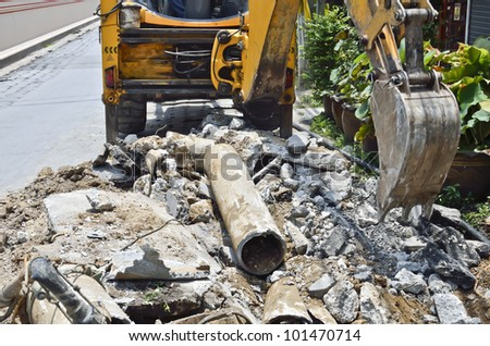 to replace new  Asbestos cement pipe. - stock photo