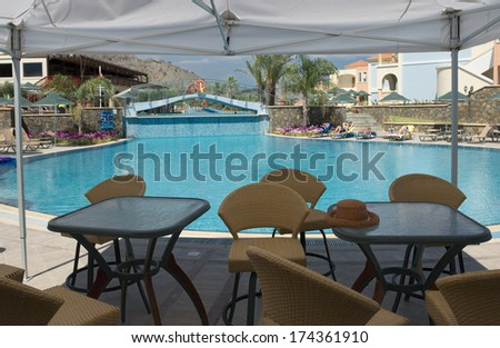 to the swimming pool and cafe - stock photo
