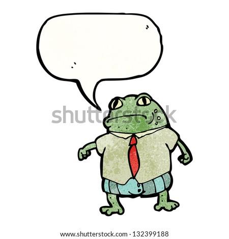 toad with speech bubble cartoon - stock photo