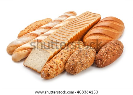 toast bread and pastry isolated on white background. - stock photo