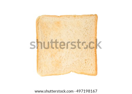 Toast bread isolated on white background. Top view