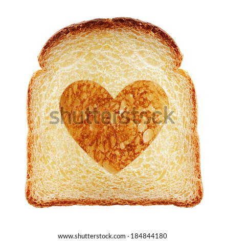 Toast isolated. Bread slice with heart on white background - stock photo
