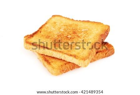 Toast isolated on white background - stock photo