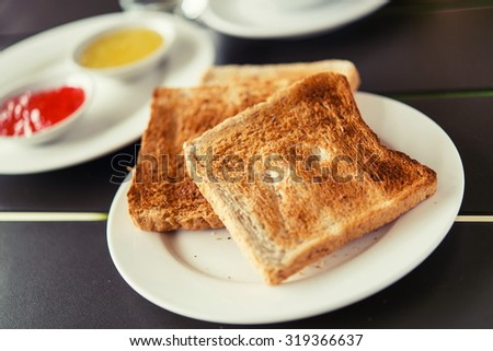 toast, jam set. Served with Appetizing breakfast