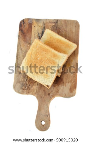 toast on board chopped with white background