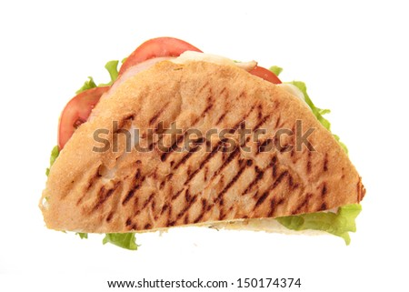 Toast sandwich on white background on Food