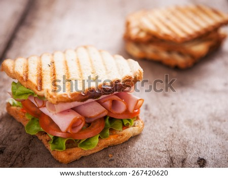 Toast Sandwich on wooden background - stock photo