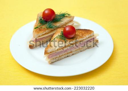 toast with cheese and ham - stock photo