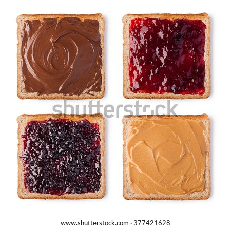 Toast with Chocolate, butter peanut and jam. Isolated on a white background - stock photo