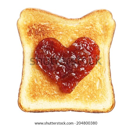 Toast with jam in shape of hearts isolated on white background - stock photo