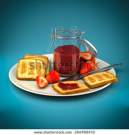 Toast with strawberry jam on a blue background - stock photo
