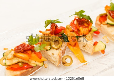 Toast with vegetables - stock photo