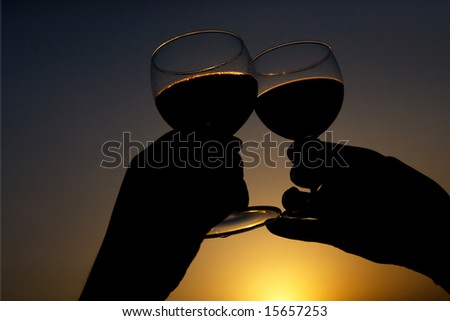 Toast with wine glass silhouette - stock photo