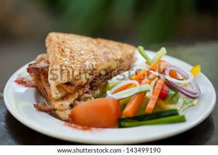 Toasted Bacon and egg sandwich with salad