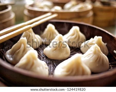 Toasted bao buns lined up - stock photo