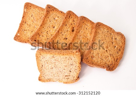 Toasted bread on a white background. - stock photo