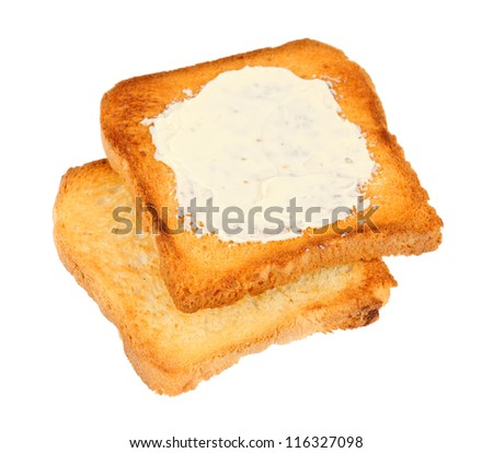 toasted bread sliced with butter, isolated on white - stock photo