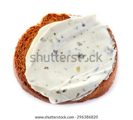 toasted bread with cream cheese isolated on white background - stock photo