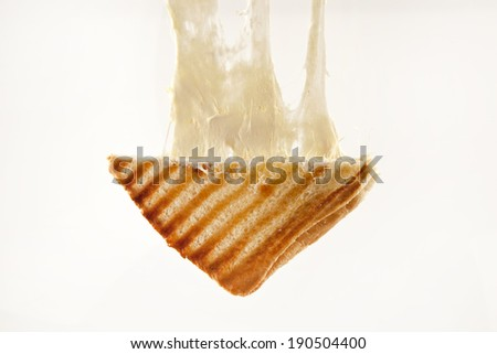 toasted cheddar cheese sandwich turkish toast isolated - stock photo