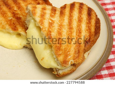 Toasted cheese sandwich on beige plate - stock photo