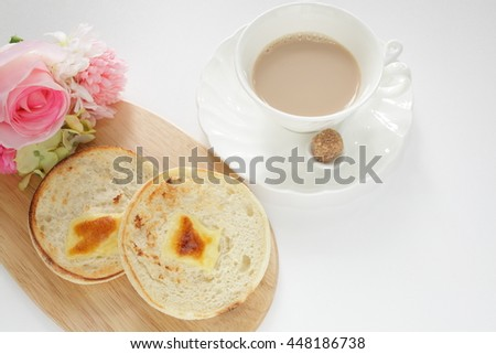 toasted English muffin and cheese - stock photo