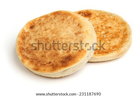 Toasted English muffin on white background. - stock photo