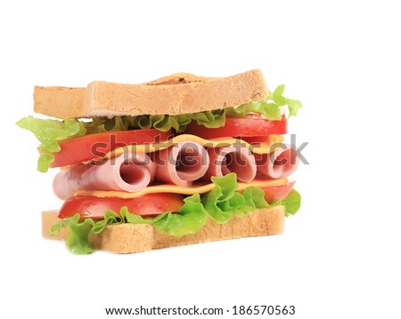 Toasted sandwich. Isolated on a white background.