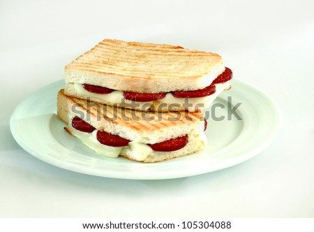 toasted sandwich with cheese and meat - stock photo