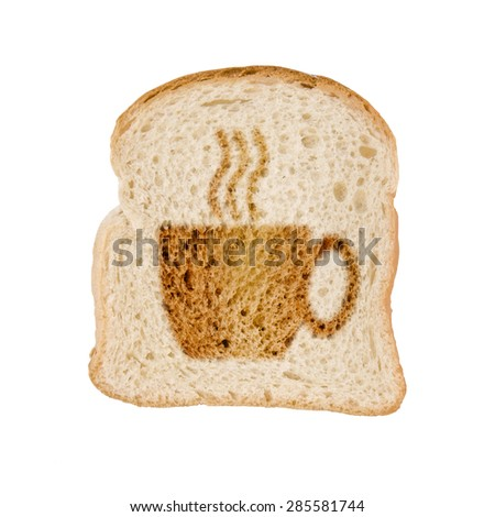 Toasted slice of bread cup of coffee, , isolated on white background