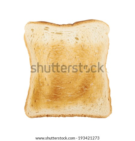 Toasted slice of bread isolated over the white background