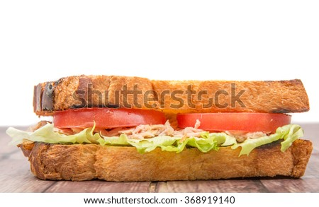 Toasted tuna sandwich with salad and tomato slices over wooden background