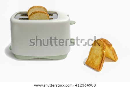 toaster and toast on a white background - stock photo