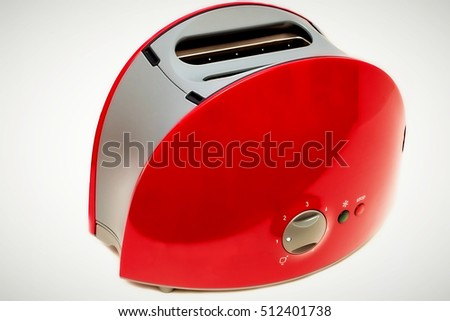 Toaster for bread isolated on white background, Kitchen equipment. Side view