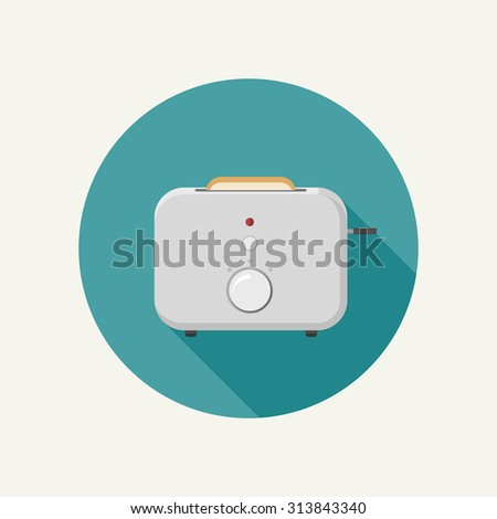 Toaster illustration with a piece of bread on round button. Raster version - stock photo
