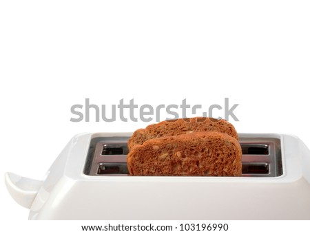 Toaster with two bread slices isolated on white background - stock photo