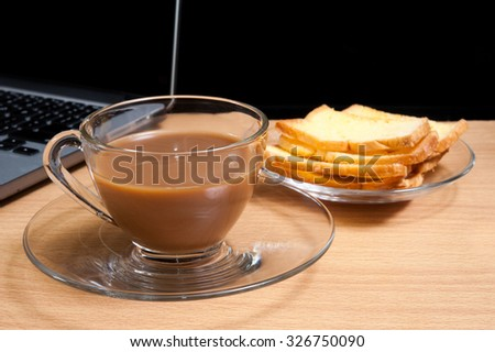 Toasts butter with a cup of coffee