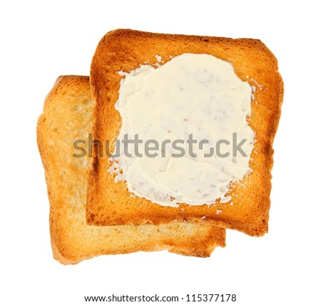 toasts with butter, isolated on white background - stock photo