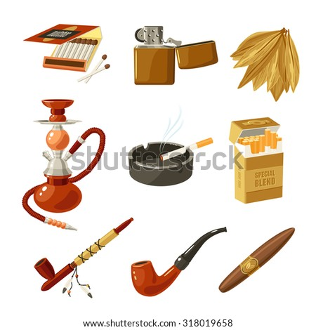 Tobacco and smoking decorative icons set with matches lighter cigarette pack isolated  illustration - stock photo