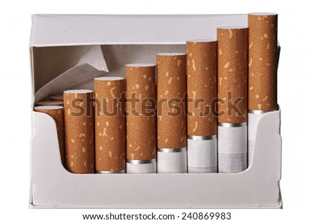 Tobacco in cigarettes with brown filter in a pack close up isolated