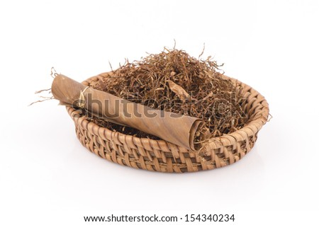 Tobacco leaves were dried, cut into small strips called line tobacco.  - stock photo