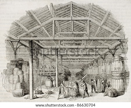 Tobacco manufacturing warehouse old illustration. By unidentified author, published on Magasin Pittoresque, Paris, 1843 - stock photo