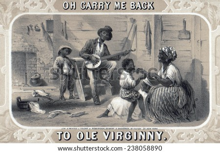 Tobacco package label showing African American banjo player, woman, and children in cabin. Original title: 'Oh carry me back to ole Virginny', by Robertson, Seibert & Shearman, 1859. - stock photo