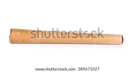 Tobacco pile and cigarette on white background