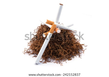 Tobacco pile and cigarettes
