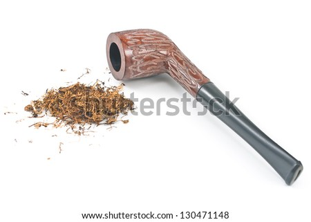 Tobacco pipe and tobacco isolated on white