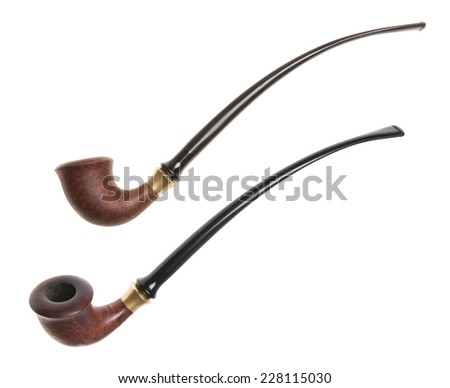 tobacco pipe isolated on a white background - stock photo
