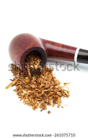 Tobacco-pipe with tobacco powder isolated over white background - stock photo