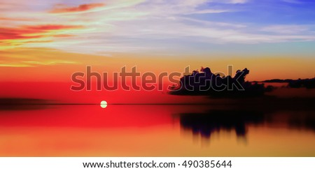 Tobago Sunset calm waters beautiful sky panoramic and tranquil scene